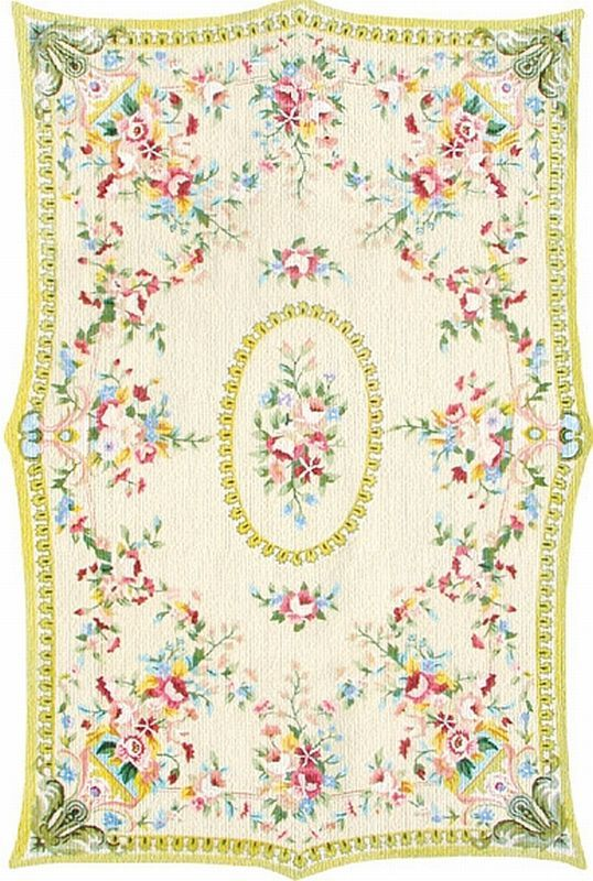 The Rug Market Floral French Medallion Yellow Rug
