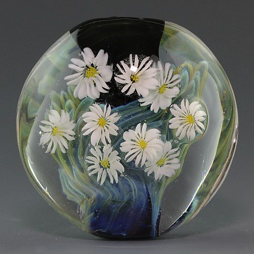 handmade lampwork flower silver glass focal bead sra