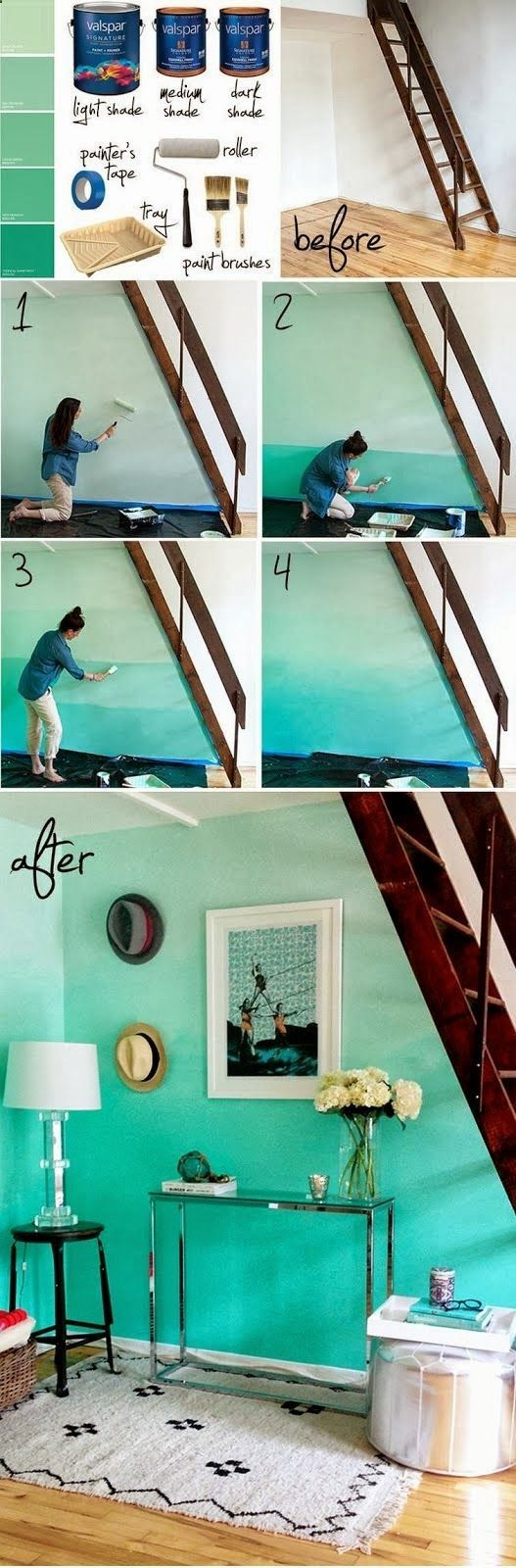 Adorable DIY blue ombre walls from  Compost Rules.