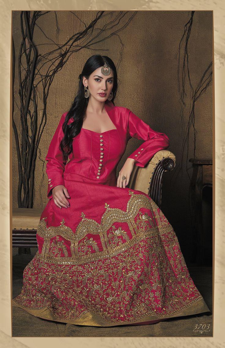 Regal Pink Silk Embroidered Indo-Western Anarkali Gown