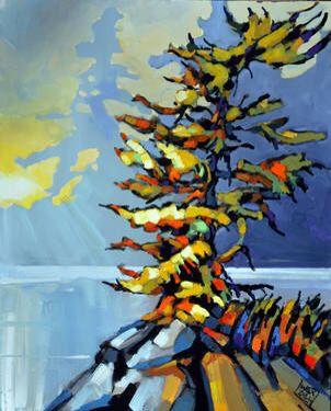Canada , landscape, painting, native 28x30 acrylic by: Jerzy Werbel www.werbeland.ca