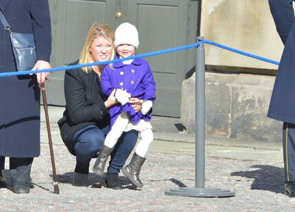 Crown Princess Victoria of Sweden and her daughter Princess Estelle attended festivities to celebrate the Crown Princess' name day at the Royal Palace court yard on March 12, 2014 in Stockholm, Sweden.