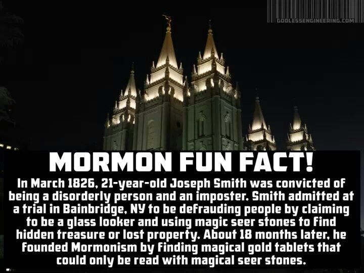 Joseph Smith created the Mormon religion months after admitting he had committed fraud.