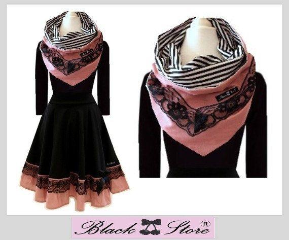 S M L XL XXL Kleid   Rosi   mit Kragen Schal von BlackCherrysStore