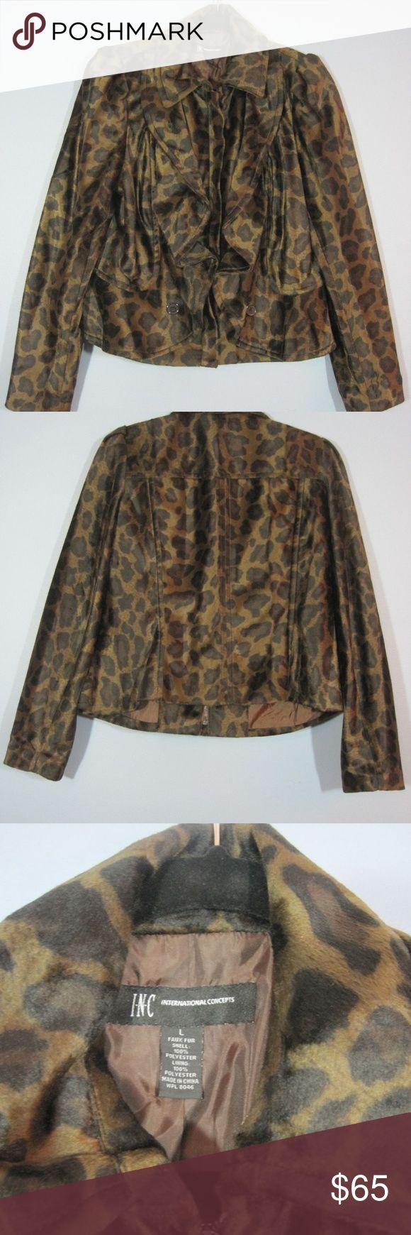 "Animal Print Leopard Ruffled Jacket Coat- Sz L Women's International Concepts Animal Print Leopard Ruffled Jacket Coat- Sz L  Good overall used condition. No pockets. Zipper front closure. Ruffled front design.  Measures approximately:   Length: 25""  Sleeve: 26""  Chest: 40""  Waist: 38""  Hips: 42"" International Concepts Jackets & Coats"