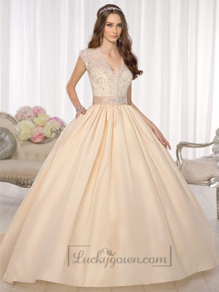 Elegant Cap Sleeves V-neck Princess Ball Gown Wedding Dresses with Beaded Illusion Jacket
