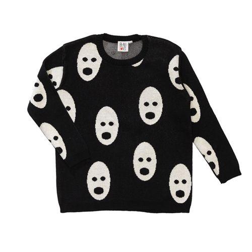 Beau LOves Jet Black White Ghosts Loose Knit Jumper at cissywears.com