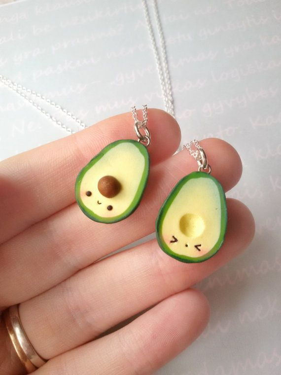 Green Avocado Necklace, vegan jewelry, clay charms, kawaii miniature food jewelry, best friend, kawaii charms, friendship necklace