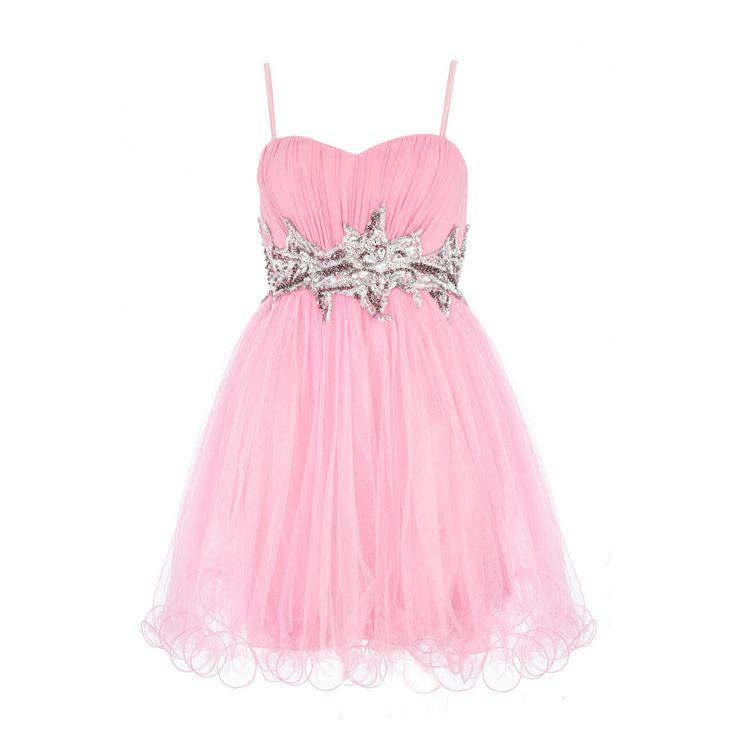 Pink Chiffon Sequin And Jewel Prom Dress