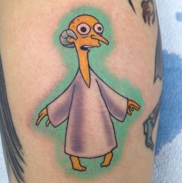 Alien Burns Tattoo from The Simpsons.. yes this exists and yes it's awesome.