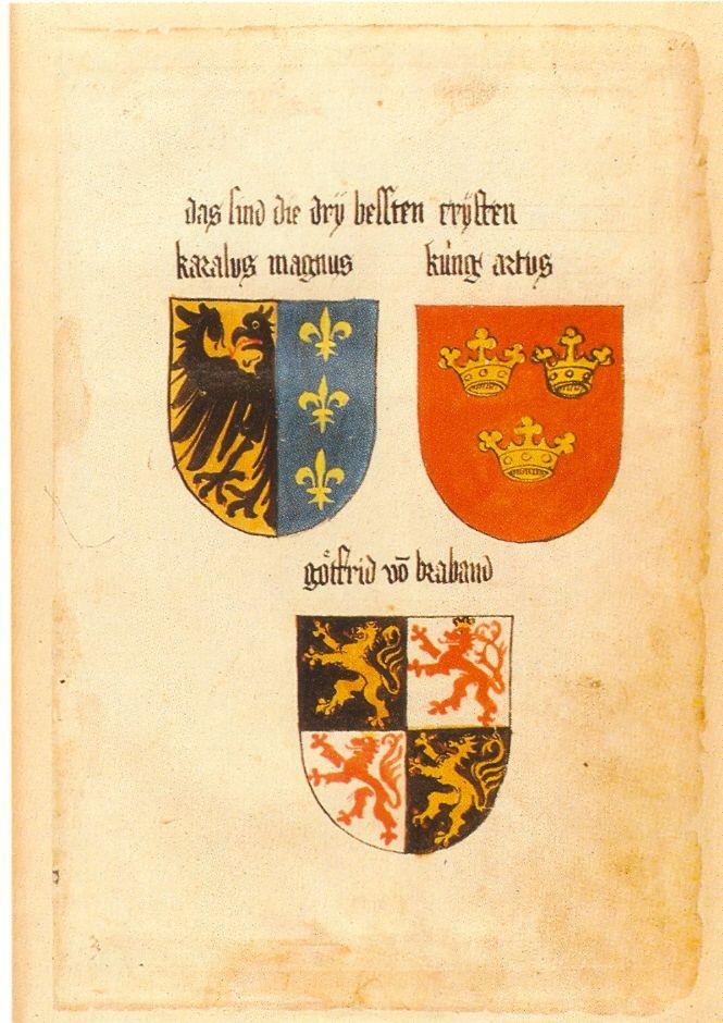 Гербы Карла Великого, Короля Артура и Годфрида Бульонского из Кодекса Ингерама.1459 г