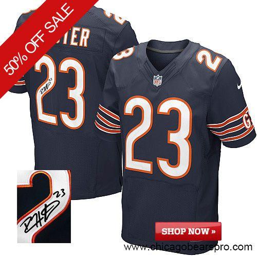 $129.99 Men's Nike Chicago Bears #23 Devin Hester Elite Team Color Blue NFL Alternate Autographed Jersey