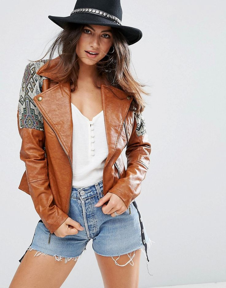 Buy it now. Glamorous Tapestry Jacket - Brown. Jacket by Glamorous, Midweight faux-leather, Fully lined, Notch lapels, Tapestry sleeve panels, Zip fastening, Functional pockets, Regular fit - true to size, Dry clean, 100% Polyurethane, Our model wears a UK S/EU S/US XS and is 165cm/5'5 tall. An eclectic mix of vintage influences and contemporary partywear are at the heart of Manchester based label Glamorous, where individual style is the key. The carefully sourced fabrics and prints channel…