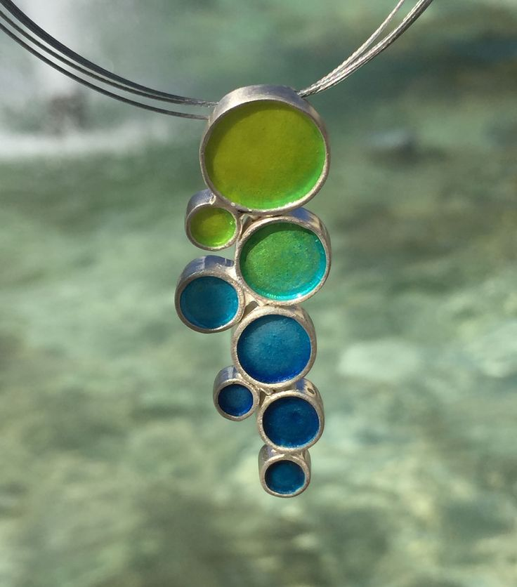One of a kind enamel pendant with transparent enamel in green and blue shades – Folt Bolt Shop