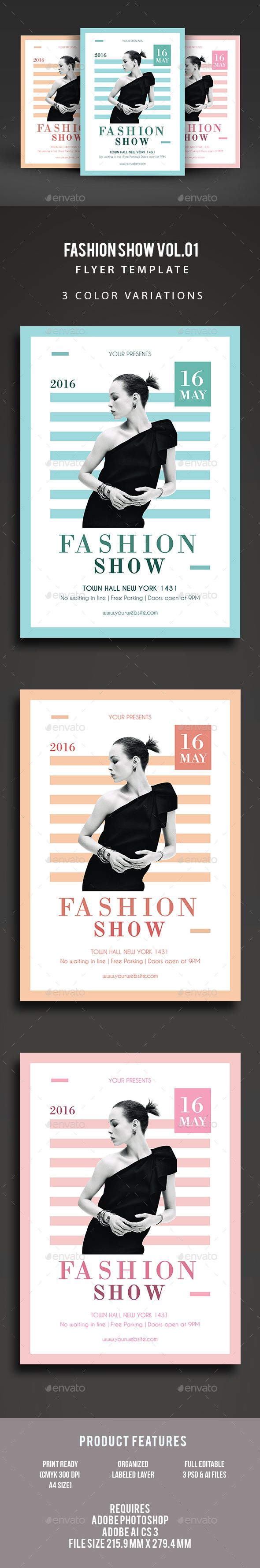 Fashion Show Flyer Template PSD, Vector AI. Download here: graphicriver.net/...