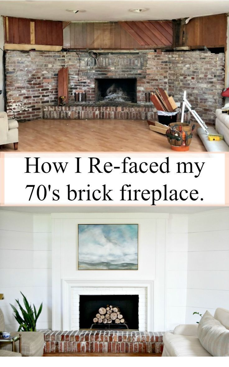 How I Refaced My 1970 S Brick Fireplace Easily And Inexpensively In 2020 Reface Fireplace Fireplace Remodel Reface Brick Fireplace