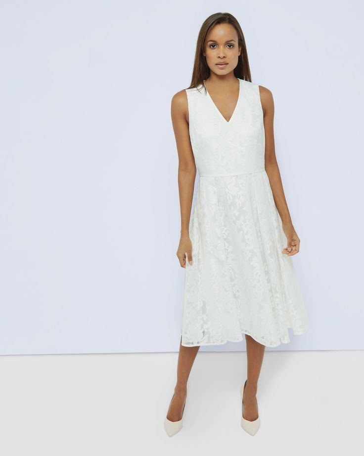 Mesh lace midi dress - Cream | Outlet | Ted Baker UK