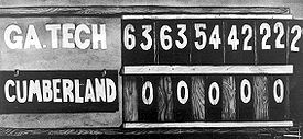 Today in 1916 – Georgia Tech defeats Cumberland University 222-0 in the most lopsided college football game in American history.
