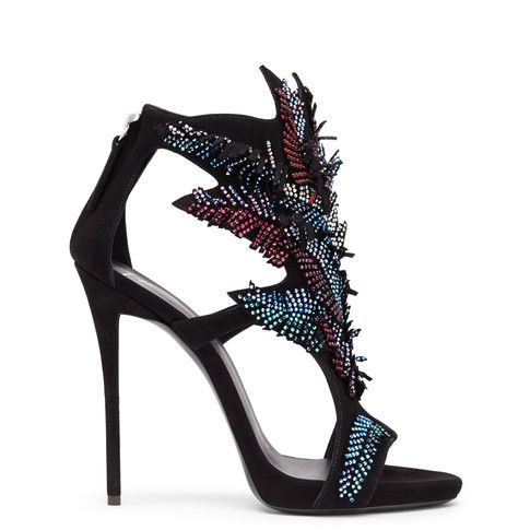 Combining movement, luminosity and color, these black suede shoes are a killer piece of design. Each leaf is studded with crystals and each strand is free to move, creating a shimmering look with every step.