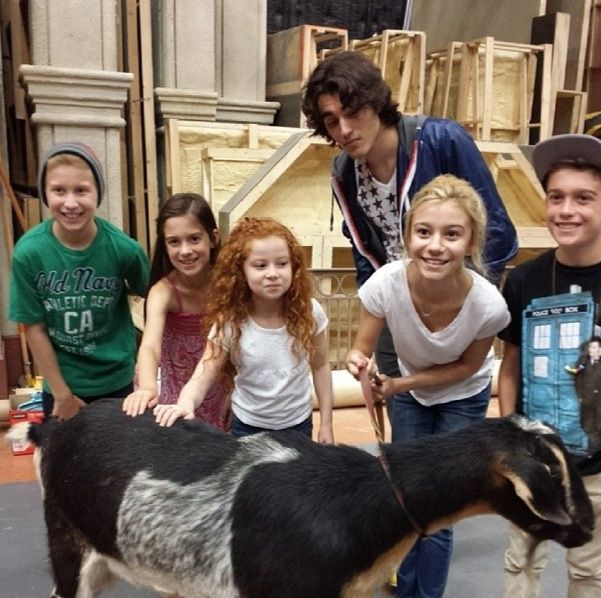 """Photo """"Dog With A Blog"""" Cast With A Goat April 23, 2014"""