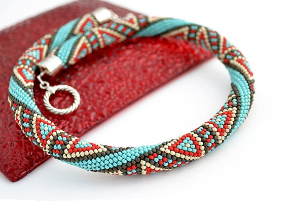 Bead Crochet Necklace Eastern Melody by Chudibeads on Etsy