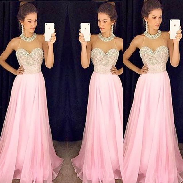 Charming Prom Dress,Sexy Evening Prom Dress,Pink Chiffon Prom