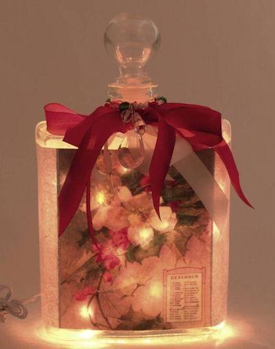 Holiday Perfume Bottle Nightlight ( Night Light ) - Roses And Teacups