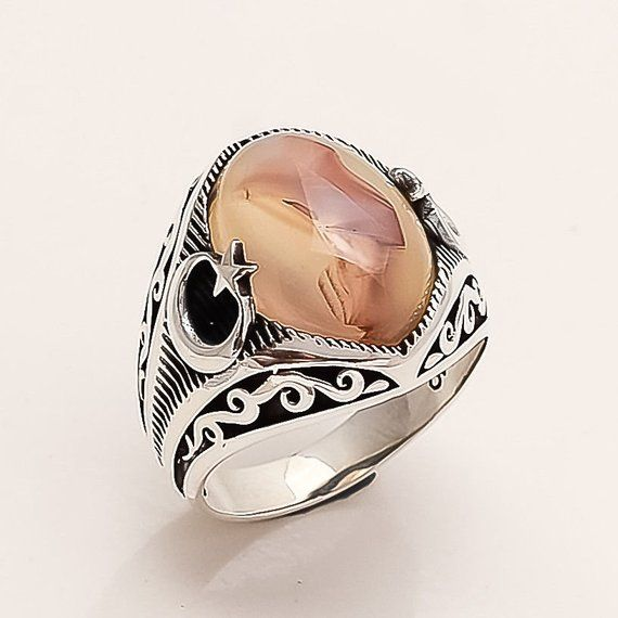 in Handmade 925 Sterling Silver Men Ring Special Gift for Husband. Yammni Aqeeq Natural Oval Green Agate