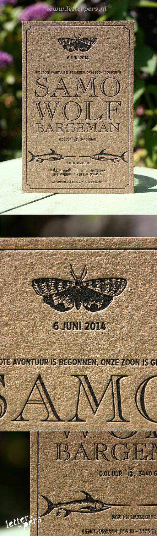 letterpers_letterpress_geboortekaartje_samo_kraft_vintage_zwaardhaai_vlinder_bijzonder