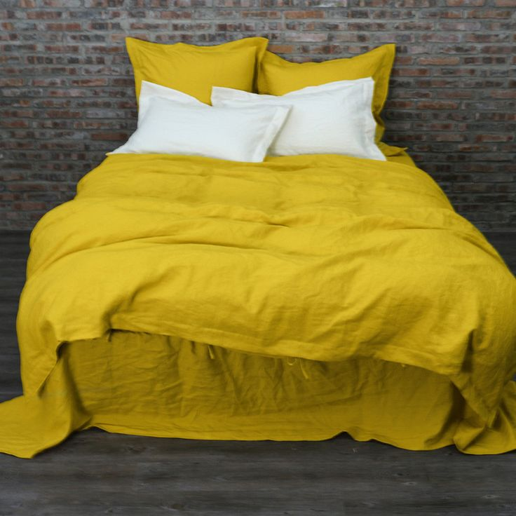 Washed Linen Bedding Set Curry