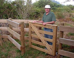Roger on site with the new kissing gate