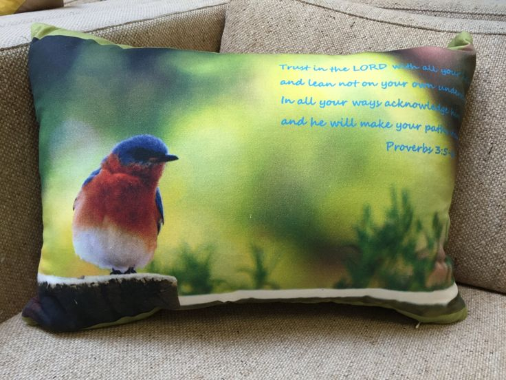 Bluebird - Proverbs 3:5-6 Throw Pillow by SuzysSunshine on Etsy