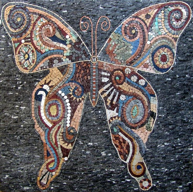 Mosaic Tile Art Murals   Butterfly Marble Mosaic Tiles Stone Art Wall Mural   eBay