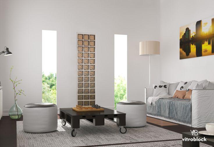 DETALLES DE ESTILO!  Aplicación de Ladrillo de vidrio modelo Basic Vitreo, color Bronce en living. . . #Vitroblock #LadrilloDeVidrio #Living #Arquitectura #IdeasCasa #Estilo #Construcción #CasaFoa #DetallesHogar