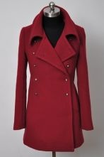 Wine Red Lapel Long Sleeve Cuff Buttons Coat - nice outfit!!