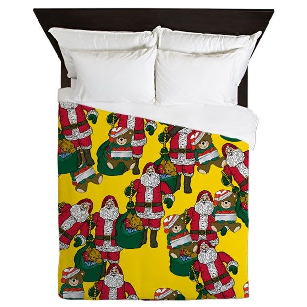 Santa with a gift bag + teddy bear #christmasbedding #holidaybedding