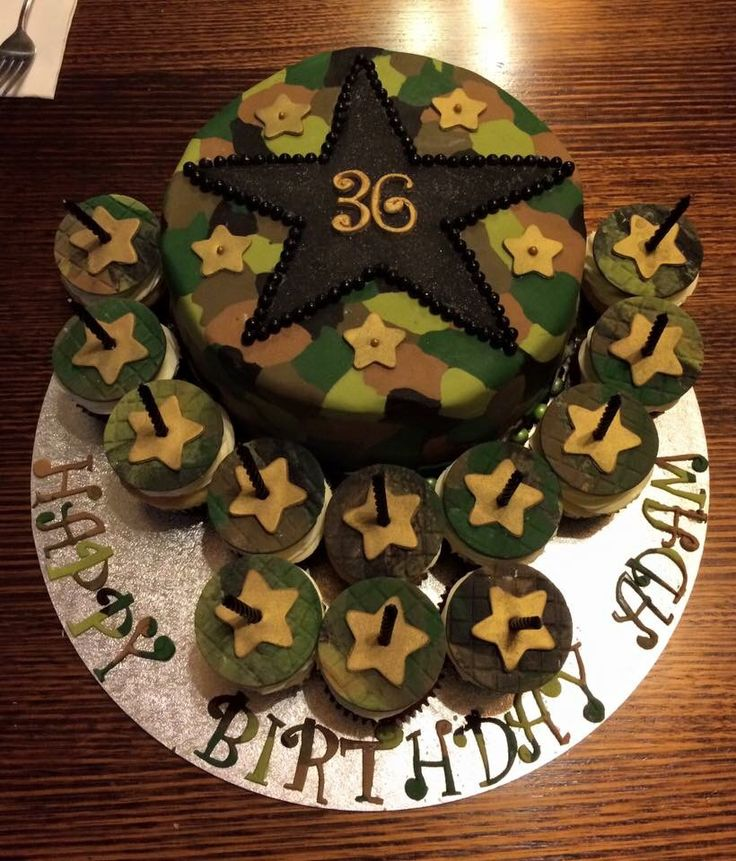 AirForce, Army Themed Birthday Cake - chocolate mud layered with salted caramel cream!