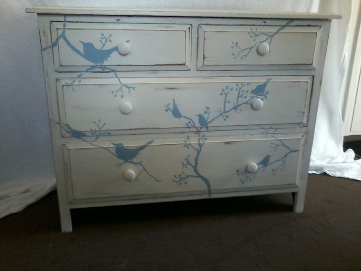 Hand painted bird dresser by Revamped vintage