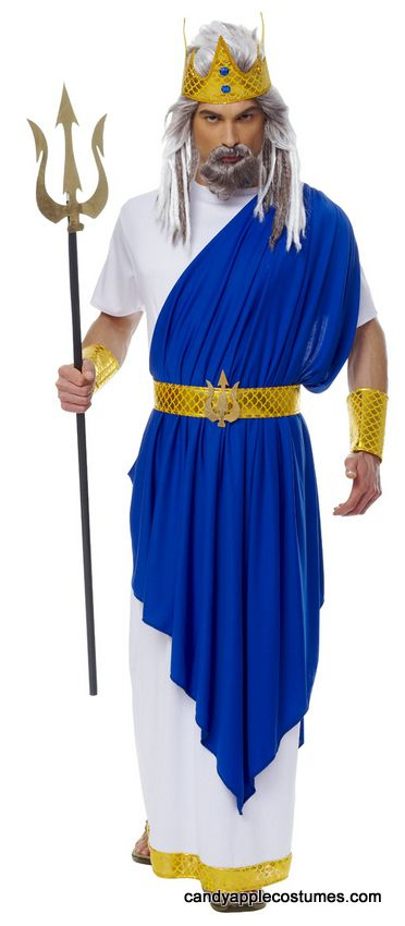 Adult Neptune God of the Sea Costume , Candy Apple Costumes , Greek  Roman Costumes