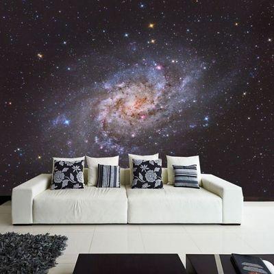 La galaxia en una pared del salón #decoración #paredes #vinilo