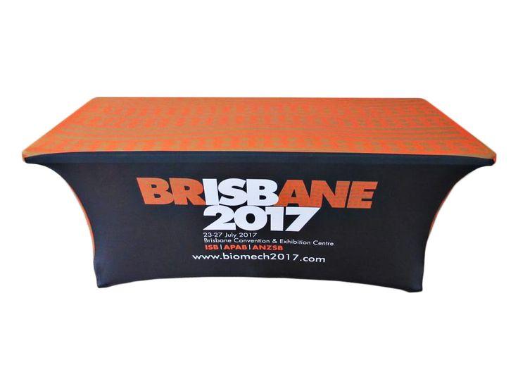 Branded stretch tablecover.