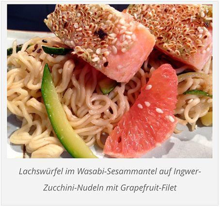Lust auf eine echte Delikatesse, eine feine und höchst aromatische Leckerei? Dann versuchen Sie dieses Rezept: Gebratener Lachs im Wasabi-Sesammantel mit Ingwer-Nudeln und Grapefruit-Filets. So fein – und schnell zubereitet.