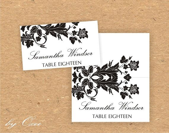 Printable wedding place card template  Black floral by Oxee