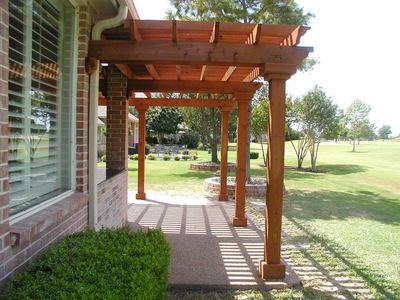 Attached pressure treated wood pergola | Exteriors | Wood pergola, Pergola,  Pergola kits - Attached Pressure Treated Wood Pergola Exteriors Wood Pergola