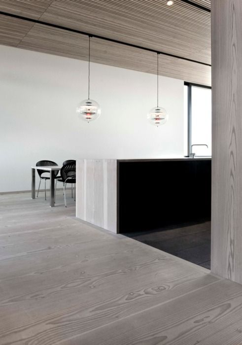 Clg detail and floor transition. Awesome :: DETAILS :: adore the timber floors and ceiling and louis poulsen pendants  Photo Credit: Unknown, if you know the original source, please let me know. #details