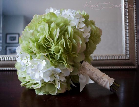 Wedding Bouquet Green and White Hydrangea Bridal by @Kate Said Yes (Kate), www.katesaidyes.etsy.com