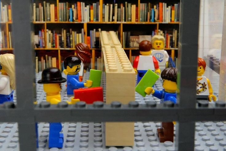 Portland's Powells Books in LEGO - they made it!