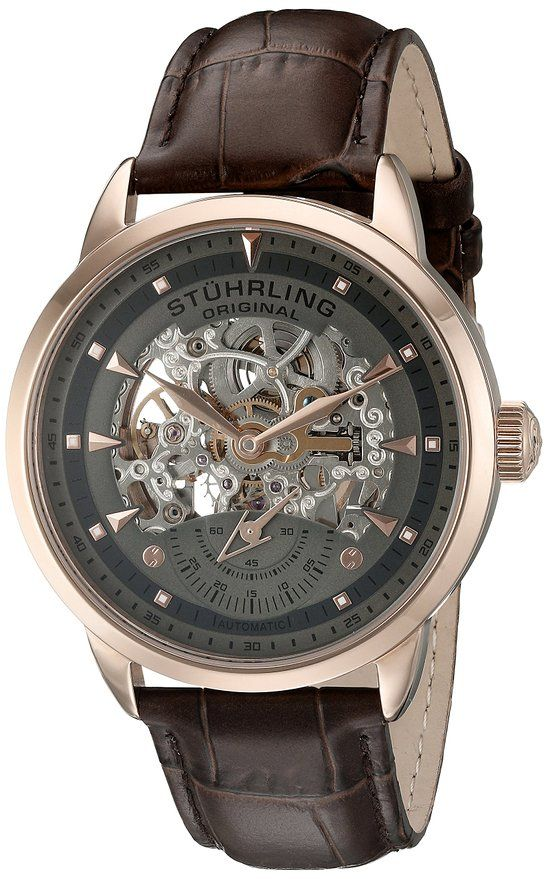 Stuhrling Original Men's 133.3345K54 Executive Automatic Self Wind Skeleton Leather Strap Watch Join like and follow us on Facebook for more   https://www.facebook.com/timepieceobsession/