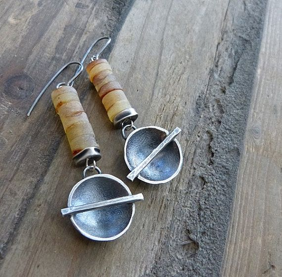 raw amber earrings and sterling silver round earrings by COTELLE