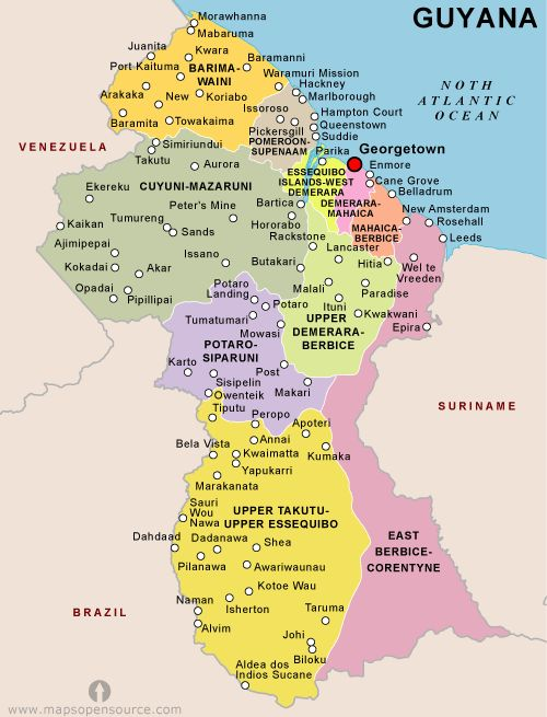 Guyana Economic Activity This map locates the areas of Industry